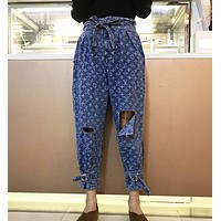 LV Louis Vuitton Newest Popular Women Personality Jacquard Broken Hole Denim Cowboy Pants