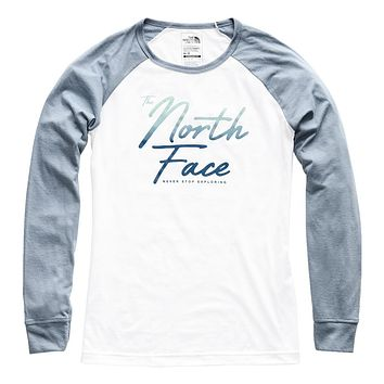 Women's Long Sleeve Malibae Tri-Blend Tee in TNF White Heather & Gull Blue Heather by The North Face