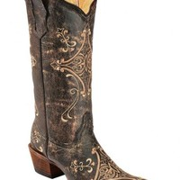 Circle G Crackle Tan Embroidered Cowgirl Boots - Snip Toe - Sheplers