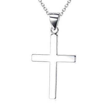 SHIP BY USPS Sterling Silver Polished Cross Pendant Necklace