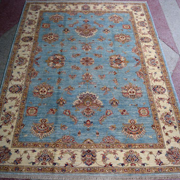 Light blue area rug, sea blue rug, Ziegler rug, afghan rug, oushak rug