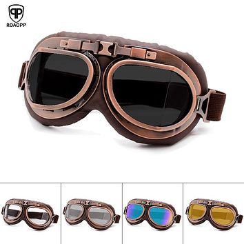 Retro Motorcycle Goggles Glasses Vintage Moto Classic Goggles for Harley Pilot Steampunk ATV Bike Copper Helmet