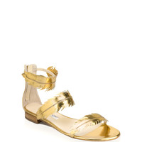 Abigail Metallic Gold Feather Sandal by Oscar de la Renta - Moda Operandi