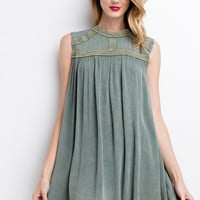 Jade Crinkly Oil Washed Gauze Tunic Dress
