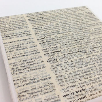 Ceramic Tile Coasters - Set of 4 - Upcycled Dictionary Page Book Art - Home Decor
