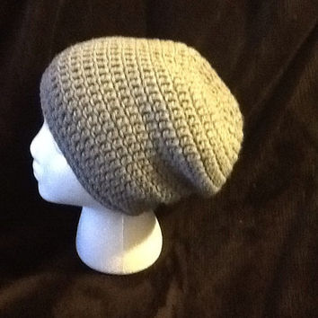 Classic solid semi slouchy crochet beanie - all sizes - made to order