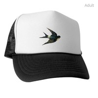 VINTAGE SWALLOW BIRD ART TRUCKER HAT