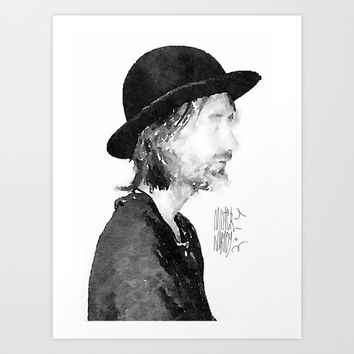 Thom Yorke Watercolor portrait by MrNobody Art Print by Mrnobody