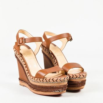 "Christian Louboutin ""Cognac"" Brown Leather ""New Duplice"" Wedges"