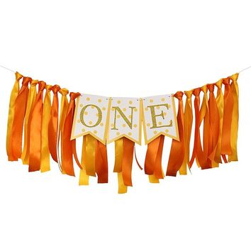 ONE Baby 1st Birthday Party Banner Hanging Garland Bunting Banner Prince Princess Flags Baby Shower Party Event Decoration Favor