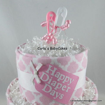 Pink diaper cake | Girl diaper cake | Baby diaper cake | Baby shower gift | Baby shower decoration | Unique baby gift | New mom gift