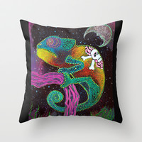 Midnight Chameleon Throw Pillow by Laura Barbosa Art