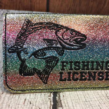 Best in the hoop embroidery designs products on wanelo fishing license holder id business card trout 5 x 7 only reheart Images