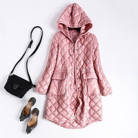 New 2016 autumn winter fashion women girls quilted white duck down coat hooded thin long coats outerwear gray pink blue black