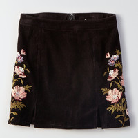 AEO Embroidered Corduroy Skirt, True Black