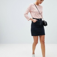 ASOS DESIGN Tall denim original high waisted skirt in washed black at asos.com