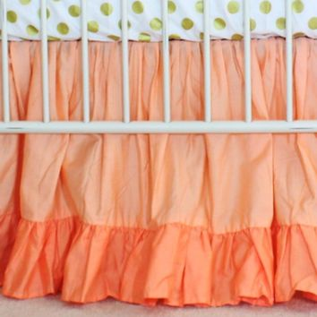 Double Ruffle Crib Skirt | Coral Sunset Papaya and Gold Dots