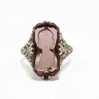 Vintage Filigree Sterling Ring, Amethyst Glass, Carved Intaglio, Size 8, Art Deco, Ring, Sterling Silver, Vintage Jewelry, Estate Jewelry