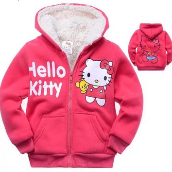 Retail Baby girls Cartoon Hello Kitty Winter fur coat,children outerwear,girls cotton thick warm hoodies jacket kids clothes