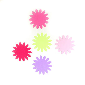 "50 Die Cut Paper Flowers, 2"" Tags - Bright Multi Color - Paper Making - Great Gift Tags, Price Tags, Book scrapping, Art Projects"