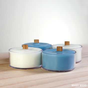 Soy Palm Natural Eco-Friendly Wood Wick Tealight Candle - Clean Rain Scent - Blue and White - Set of 4