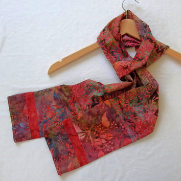 "Lightweight Autumn Scarves,  5"" Wide 74"" Long, Handmade Batik Scarf, Monet Scarf, Unique Cotton Scarves,  Artisan Scarves, Watercolor Scarf"