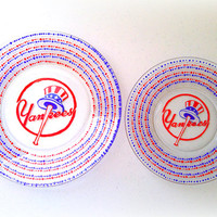 New York Yankees Dining Set - NFL - MLB - Sports - Hand Painted - Custom Teams