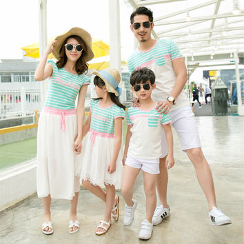 2016 New style mother daughter dresses kid baby dress family look clothing father son striped shirt summer style dresses