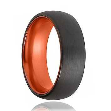 Tungsten Orange Ring - Mens Wedding Band - Black Tungsten Brushed - Atomic Orange Tungsten - Tungsten Wedding Ring - Man Tungsten Ring
