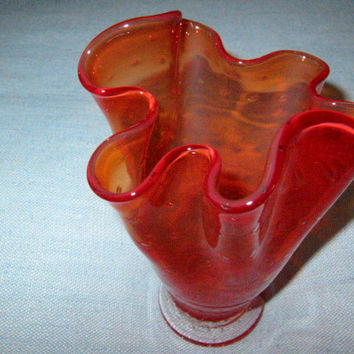 Amberina Handkerchief Blown Glass Vase Controlled Bubbles