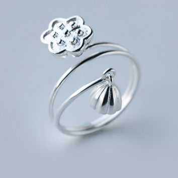 Fashion lotus ring ,925 Sterling Silver opening ring, a perfect gift