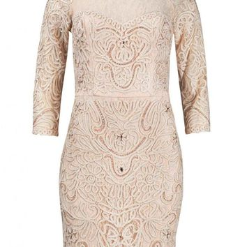 Sue Wong N4118 Blush Illusion Lace Embellished Cocktail Dress - Size 4