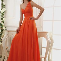 One Shoulder Empire Ruched Bodice Layered Chiffon Prom Dress PD11082
