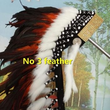 orange Indian feather Headdress 28inch indian warbonnet native american costume chief bonnet