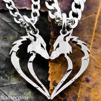 Fox necklaces in a heart shape, Hand cut Half Dollar