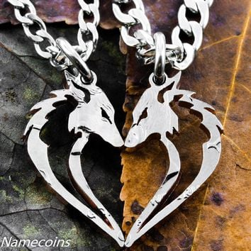 Fox necklaces in a heart shape, Hand cut Half Dollar by Namecoins