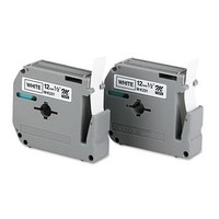 M Series Tape Cartridges for P-Touch Labelers, 1/2w, Black on White, 2/Pack