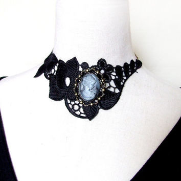 SALE large black venise lace choker handmade necklace vintage victorian cameo brooch beauty vamp gothic