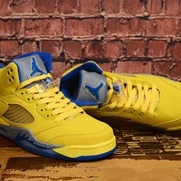 Air Jordan 5 Yellow/Blue Basketball Shoe 36-47