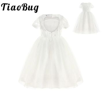 TiaoBug White Kids Girls Fower Princess Pageant Wedding Bridesmaid Birthday Party first communion dresses Tulle Tutu Lace Dress