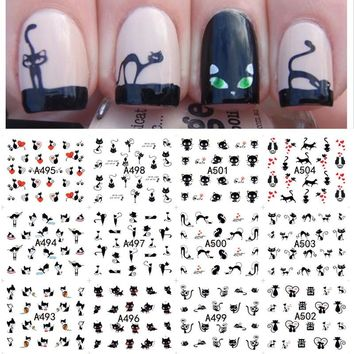 Lovely Water Transfer Nails Art Sticker Black Cat Patterns Nail Wraps Sticker Watermark Fingernails Decals