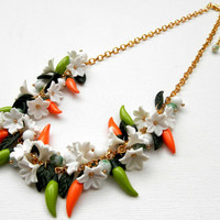 Pepper jewelry - Flower necklace - Orange green - Colourful necklace - Charm jewelry