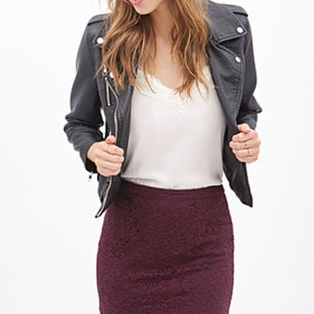 FOREVER 21 Floral Lace Chiffon Skirt Plum