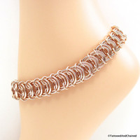 Chainmail anklet, bronze anklet, vertebrae weave chainmail jewelry for men or women