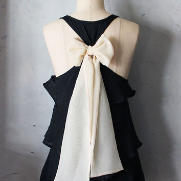 BLUSH AURA - Romantic black flowy tier blouse // nude blush creme // chiffon sash bow // tunic // tank top // racerback