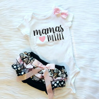 Baby Girl Clothes, Mommy and Me, Mommy's Girl, THE ORIGINAL Mama's Mini™, Bloomers and Bow Set, Black and Pastel Pink, New Baby Gift