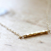 Small Square Bar Necklace - Golden Geometric Thin Simple Squares Necklace