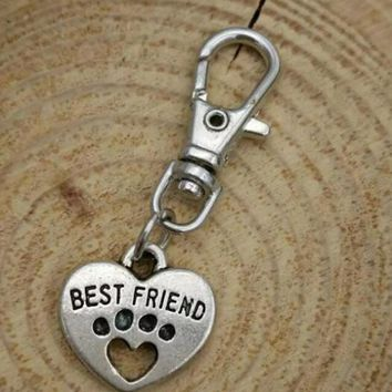 Best Friend Heart Charm Keychain Vintage Silver Paw Prints Pendant For Car Key Ring Handbag Creative Gift Jewelry Accessories