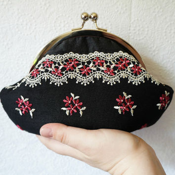 Black clutch, small clutch purse wristlet, black silk clutch with pink flower and ivory lace overlay, personalized clutch,