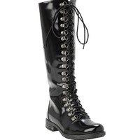 Black PU Lace-Up Combat Boots
